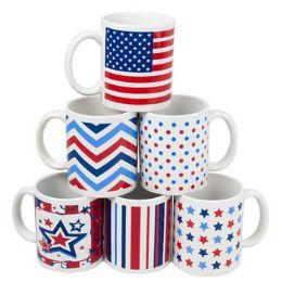 108 Units of Mug Stoneware Patriotic Designs - New Years