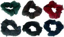 72 Bulk Assorted Color Ribbed Sateen Scrunchies With Beads