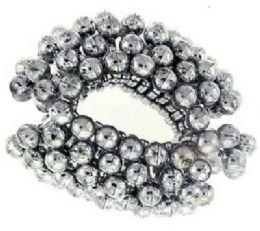 72 Bulk Silvertone Acrylic Beaded Bun Cover