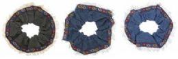 72 Bulk Assorted Cotton Denim Fabric With A Floral Ribbon Trim
