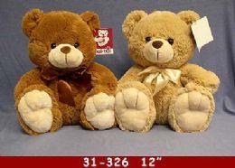"24 Bulk 12"" Beige And Brown Soft Plush Bear"