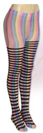 36 Bulk Wholesale Banded Neon Stripe Tights