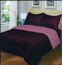 6 Units of Luxury Reversible Comforter Blanket Twin Size 68 X 86 Burgundy / Rose - Blankets & Bedding