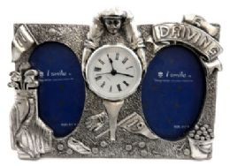 10 Wholesale Dual Picture Frame Made Of Pewter With Assorted Golf Designs And A Clock In The Center