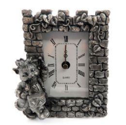 10 Wholesale Pewter Framed Clock With A Cat As A Drummer