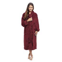 4 Bulk Tahoe Fleece Shawl Collar Robe In Burgundy