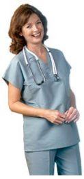 8 Units of Scrubs Set V-Neck Shirt 1 Pocket And Pants Size X-Large In Ceil Blue - Nursing Scrubs