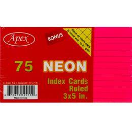 60 Bulk Index Cards, 3x5, 75 Pk, Neon Colors, Ruled