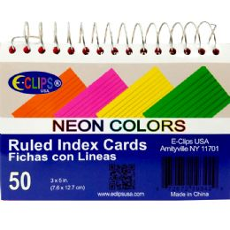 48 Bulk Spiral Index Cards, 3x5, 50 Ct. Neon Colors, Ruled