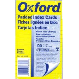 30 Bulk Oxford 3x5 Index Card Pads, Canary, Ruled