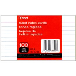 72 Bulk Mead Index Cards Ruled 3x5 100ct.