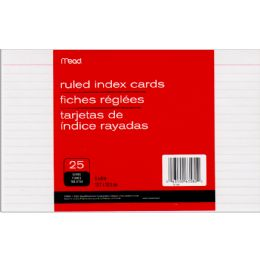 72 Wholesale Mead Index Cards Ruled 5x8 25ct.
