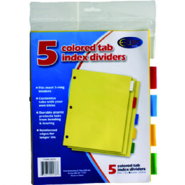 72 Wholesale Index Tab Dividers, 5 Pk., Asst. Color Tabs