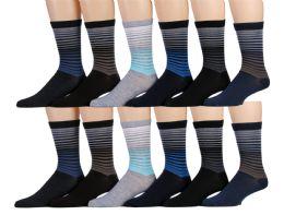 120 of Mens Striped Fashion Dress Socks, Cotton Size 10-13
