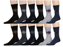 120 of Mens Argyle Fashion Dress Socks, Cotton Size 10-13
