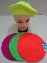 24 Bulk Knit Beret neon Colors