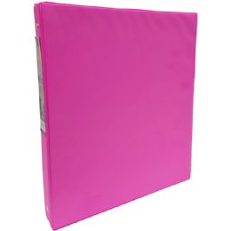 "24 Units of Vinyl Binder, 1"", 2 Pockets, Neon Pink - Clipboards and Binders"