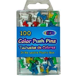 48 Wholesale Color Push Pins 60ct