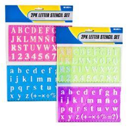 72 Wholesale 2 Pack Letter Stencil/ 2 Asst W/ Ruler
