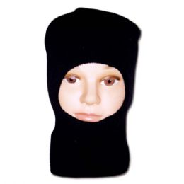 72 of Men's Knit Ski Mask Beanie Solid Black 1 Hole