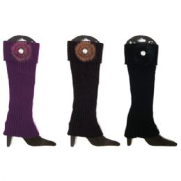 48 Units of Leg Warmers Assorted Colors With Flower - Womens Leg Warmers