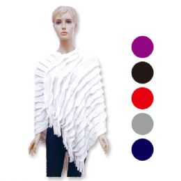 12 Units of Women's Knit Cloak In Assorted Colors - Winter Pashminas and Ponchos
