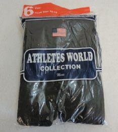 144 Units of Mens Cotton Black Tube Socks 10-15 - Mens Tube Sock
