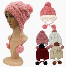 48 Bulk Woman's Assorted Color Pom Pom Hat With Fur Lining