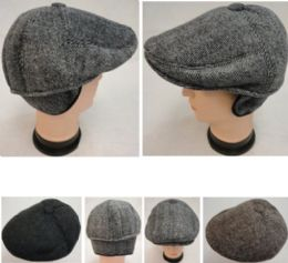 48 Units of Warm Ivy Cap With Ear Flaps herringbone Button Top - Fedoras, Driver Caps & Visor