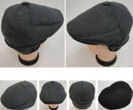 48 Units of Warm Ivy Cap With Ear Flaps wool-like Solid Color Button Top - Fedoras, Driver Caps & Visor