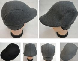48 Units of Warm Ivy Cap With Ear Flaps wool-like Solid Color Assorted Colors - Fedoras, Driver Caps & Visor