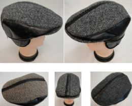 48 Units of Warm Ivy Cap With Ear Flaps leather-Like Strips - Fedoras, Driver Caps & Visor