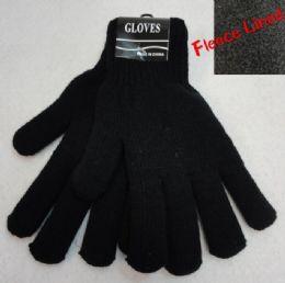 36 Bulk Men's Black Fleece Lined Gloves