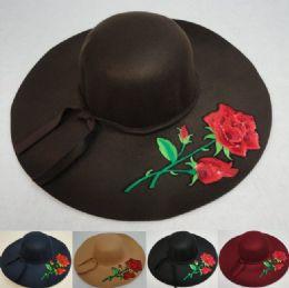 24 Bulk Ladies Felt Winter Hat W Ribbon [xl Brim] Rose Applique