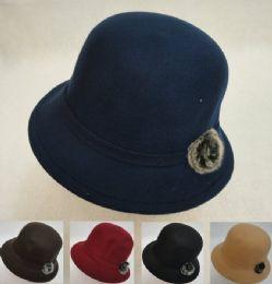 12 Bulk Ladies Felt Cloche Hat With Fur