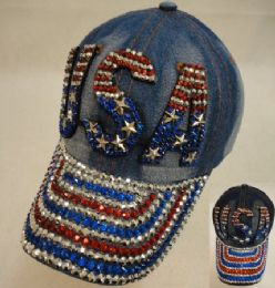 18 Wholesale Denim Hat With Bling [usa] Red/white/blue