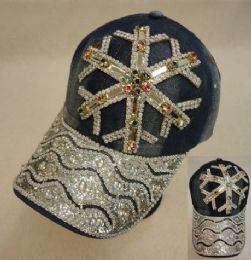18 Units of Denim Hat With Bling Snowflake Colored Gems - Hats With Sayings
