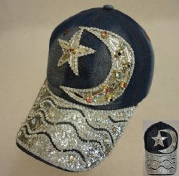 18 Wholesale Denim Hat With Bling [moon & Star] Colored Gems