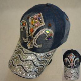 18 Wholesale Denim Hat With Bling [fleur De Lis] Colored Gems
