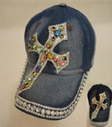 18 Wholesale Denim Hat With Bling [cross] Colored Gems