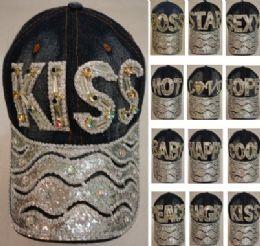 24 Wholesale Denim Hat With Bling [colored Gem] Assortment