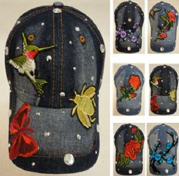 18 Wholesale Denim Hat With Bling [applique Assortment]