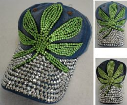 24 Wholesale Denim Hat With Bling *silver [green Leaf]