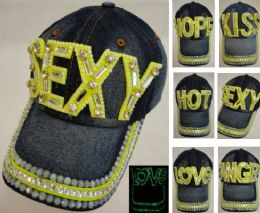 18 Units of Denim Hat With Bling Glow In The Dark Assortment - Hats With Sayings