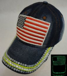18 Wholesale Denim Hat With Bling *glow In The Dark [flag]