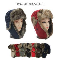24 Bulk Faux Fur Unisex Trapper Hat Assorted Color