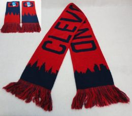48 Units of Knitted Scarf With Fringe [cleveland Skyline] Navy/red - Winter Scarves