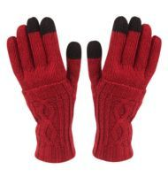 24 Units of Double Layer Knit Glove With Screen Touch Assorted Colors - Conductive Texting Gloves