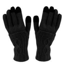24 Units of Double Layer Knit Glove With Screen Touch In Black - Conductive Texting Gloves