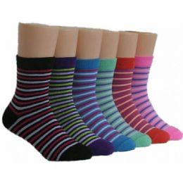 480 Units of Girls Striped Crew Socks - Girls Crew Socks